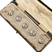 French Art Nouveau 1901 sterling Silver Buttons with English Hallmarks