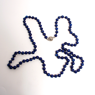 1920s Lapis Lazuli Beaded Art Deco Necklace with 14 Karat White Gold Clasp 35 inches long 106 Beads