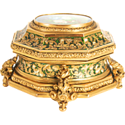 Tahan of Paris 1850 signed Jewellery Box Bombe Casket with Original Key decorated with Enamel and a Still Life Painting