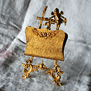 Palais Royal Paris Antique French Guardian Angel Letter Stand Easel  in Gold Gilt