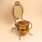 1850 Napoleon III Champleve Enamel Dressing Table Jewellery Box and Vanity Mirror
