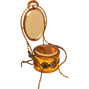 1850 Napoleon III Champleve Enamel Dressing Table Jewellery Box and Vanity Mirror