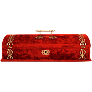 A Victorian Jewellery Box with Key and Lock Red Velvet Chrome Strapping