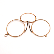 Antique Pince Nez Double Gold Eye Glasses Spectacles with Original Case Year 1880 S817