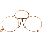 Antique Pince Nez Double Gold Eye Glasses Spectacles with Original Case 1880