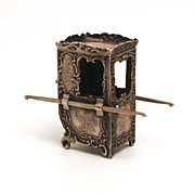 Antique French Fashion Doll Accessory Silver Hallmarked Miniature Sedan Chair S917