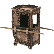 Antique French Fashion Doll Accessory Silver Hallmarked Miniature Sedan Chair