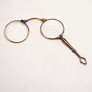 1870 English Pendant Lorgnette 14 Karat Yellow and White Gold Plated Eye Glasses on a Handle Spectacles with Leather Case