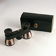 Vintage Opera Glasses Mother go Pearl and Abalone Shell Enamel German with Leather Original Case