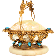 1850 Palais Royal Paris Angels Cherubs Putti Jewellery Display Box Stand Mother of Pearl Opaline Glass Turquoise Stones