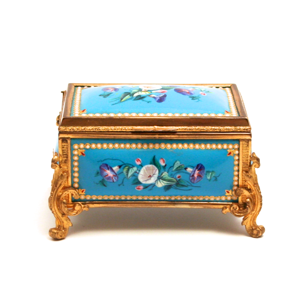 A Fabulous Napoleon III period 1840 Enamel and Silk Lined Jewellery Box S817