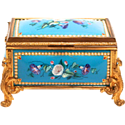 A Fabulous Napoleon III period 1840 Enamel and Silk Lined Jewellery Box