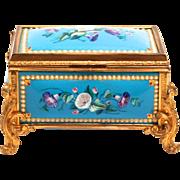 A Fabulous Napoleon III period 1840 Enamel and Silk Lined Jewellery Box S817