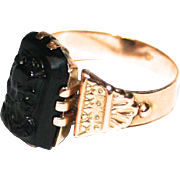 Antique Romanov Russian Gold Gentleman's 14 Karat Oxford Signet or Seal Ring with Black Onyx Roman Centurion Intaglio