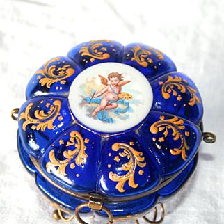 French Antique 1850 Napoleon III Cobalt Glass Enamel Putto Cherub Angel Dressing Table Jewellery Box