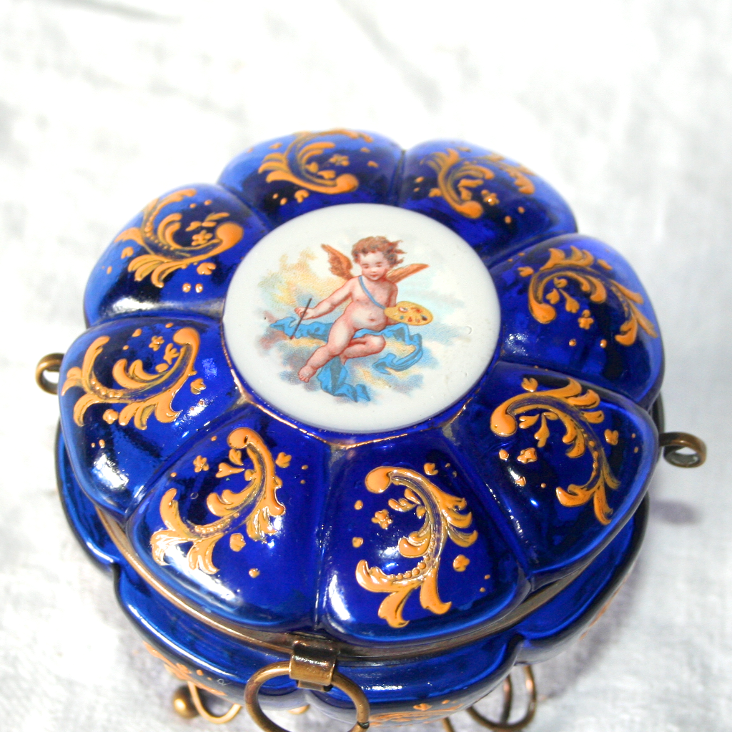 French Antique 1850 Napoleon III Cobalt Glass Enamel Putto Cherub Angel Dressing Table Jewellery Box S817