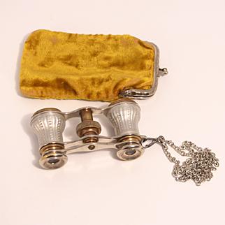 1860 Signed Paris Opera Glasses with Original Citron Velvet Purse and Chain