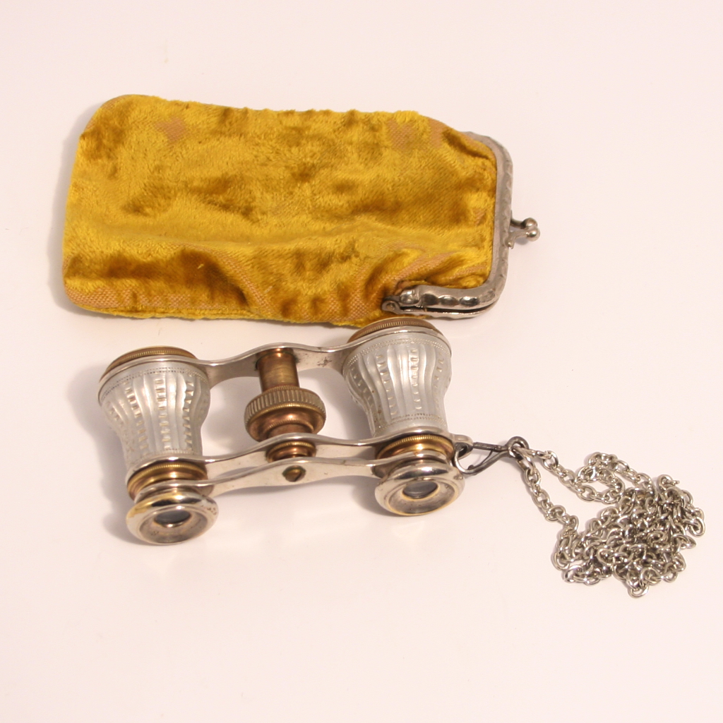 1860 Signed Paris Opera Glasses with Original Citron Velvet Purse and Chain