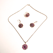 Vintage Italian Sterling Silver Amethyst Jewellery Set of Ring Pendant with Silver Chain and Earrings S817