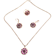 Vintage Italian Sterling Silver Amethyst Jewellery Set of Ring Pendant with Silver Chain and Earrings