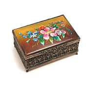 Signed Vintage Fauré Limoges France Enamel Jewellery Box 1937