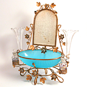 Palais Royal 1840 French Dressing Table Stand Scent Bottles Crystal Glass Posy Holders Jewellery Hangers Trinket Bowl Mirror