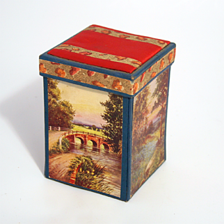 Victorian 1890 Sewing Compendium Box with Needles and Pincushion top
