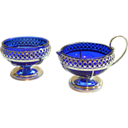 Silver Plate and Cobalt Glass, Sugar and Creamer