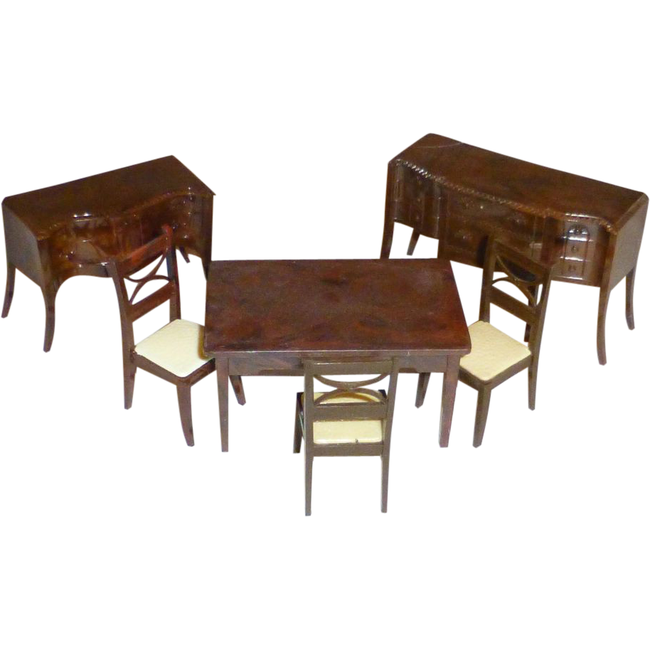 Vintage renwal doll house dining room set furniture 1950 for House furniture