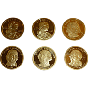 "Set of Six ""Proof"" Dollar Coins, Four US Mint Presidential  ""Golden"", & Two Sacajawea,  Set of Six Uncirculated"