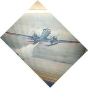 Lithograph by Charles Hubbell, Airplane Rescue Greenland, 1948, Gooney bird,  Militaria