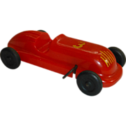 Windup Race Car Toy, by Saunders of Aurora, Illinois, #3, Red Plastic, 1940's