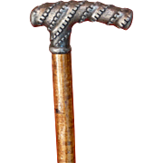 Antique  Cane, Walking Stick, Primitive Shaft, Likely Pewter