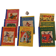 "Miniature 1949 Tom Thumb Books, Set of Seven, Rand McNally, Plus ""Rover"" Book,  Baby Boomers Generation"