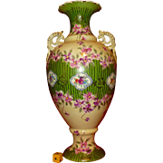 Victorian Taizan Antique Vase, Imported by Vantine, NY, NY, Hand Painted, Over a Foot Tall