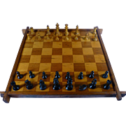 1930's Checker / Chess Board, Inlaid Hardwood, Staunton Chess Pieces,
