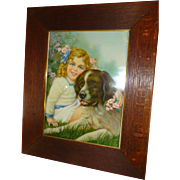 "1938 Original Lithograph, St. Bernard & Girl, ""Faithful Protector"", Original Oak Frame, C. Moss"