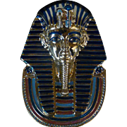 """Vintage Golden Mask of Tutankhamun, 22kt Gold Paint, 8"""" Bradford Plate #1, Splendours of Ancient World Series 1993, Egypt"""