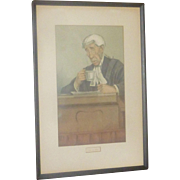 """Victorian Era Vanity Fair Lihograph, """"Spy"""" Water Color, Red Sashed  Judge, Men of the Day, Sir Arthur Jeff"""