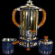 Art Deco Bakelite, Farber Bros Krome Kraft Coffee Percolator & Serving Set, Immaculate, 1930's