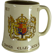 Queen Elizabeth II Souvenir Coronation Coffee Cup, 1953, 18 Kt Gold Hand Painted Accents, Gray's Pottery Porcelain, England