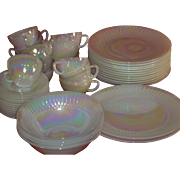 1950's Moonglow Iridescent Dishes / Bowls / Cups Set, by Federal, Carnival Glass, Opalescent