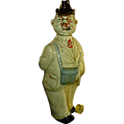 Vintage Ca 1930's German Decanter, Hand Painted Porcelain, Walking Gentleman, Binoculars, Umbrella, & Cigar. Glazed Ceramic. Birds.