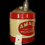 1960 Vintage Amalie Oil Can, Five Gallons, Pennsylvania, Wood Handle, Advertising, Automobilia