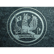 Vintage Vauxhall Car Chassis Identification Plate, England, Griffin Badge, Handstamped ID#,  General Motors / Opel Subsidiary, Automobilia