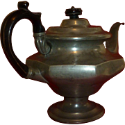 1800's  Victorian Era,  Antique Pewter Teapot, Wood Handle & Finial, American, New England - Red Tag Sale Item