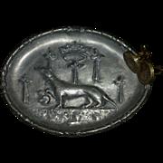 Vintage Pewter Ashtray, Signed, Royal Hunting Dog, Europe, Tobacciana, King Crown, Crucifixes