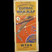 WWII Battle Invasion Map, 1943 - 44, D Day Precursor, Rand McNally, Hitler Europe, Militaria, Military Memorabilia