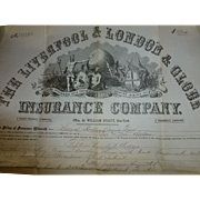Antique Fire Insurance Policy, 1883, Liverpool & London & Globe, Providence RI, Portland ME, RSA Insurance Group ( Royal & Son Alliance ), Scipophily, England