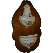 Antique Victorian Capodimonte Lavabo, Wittenburg Germany Porcelain Mark, Early 1900's,  Ceramic, Hand Painted, European Walnut